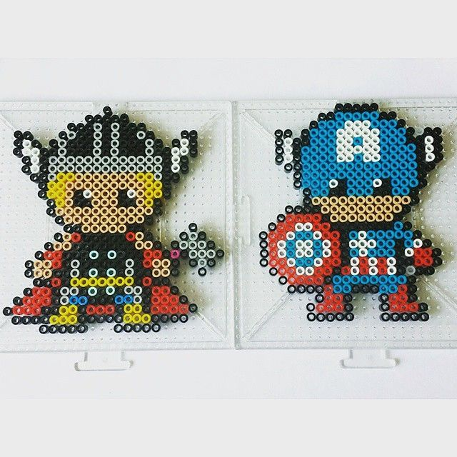Thor and Captain America perler beads by perler_bead_artwork