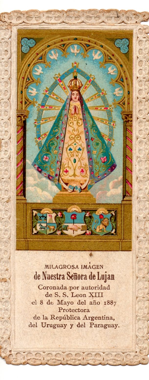 Año 1887: estampa histórica de la Coronación de la Virgen de Luján. Argentina.