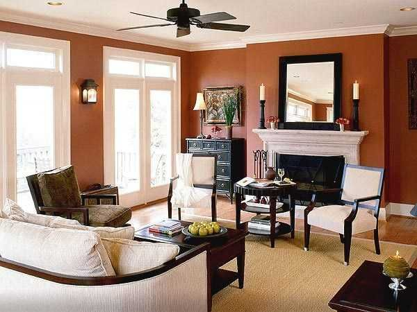Living Room Footstools Along Wall