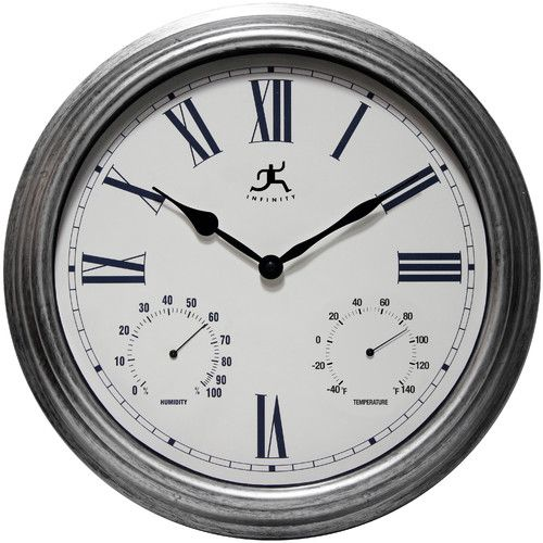 """Infinity Instruments Silo 16"""" Indoor and Outdoor Wall Clock with Thermometer and Hygrometer"""