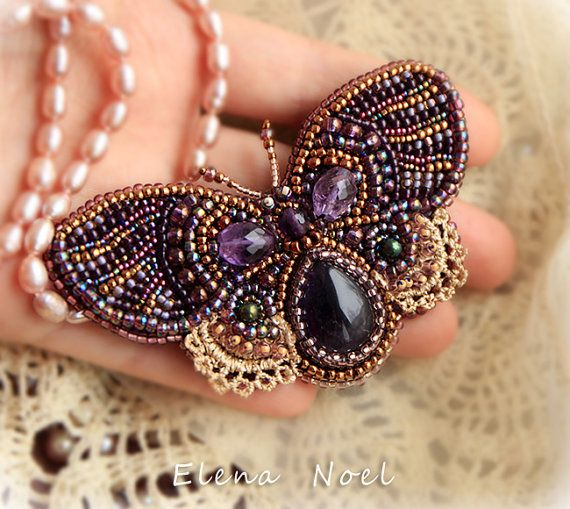Amethyst butterfly brooch embroidered beads - beautiful brooch - beadwork