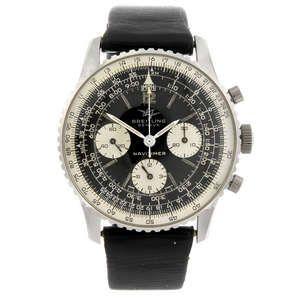 LOT:6   BREITLING - a gentleman's stainless steel Navitimer 806 chronograph wrist watch.