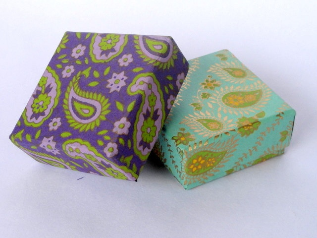 Square small favor box Paisley Gift box 2 assorted. $6.00, via Etsy.
