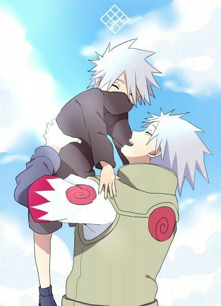 Kakashi & Sakumo <3 Finally a picture that has the hatake clan symbol.