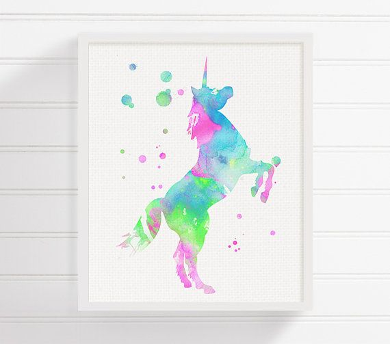 Unicorno dell'acquerello pittura, stampa artistica Unicorn, Unicorn Poster, ragazze Camera Decor, Baby Girl scuola materna, bambini camera Wall Art, decorazione della parete della scuola materna