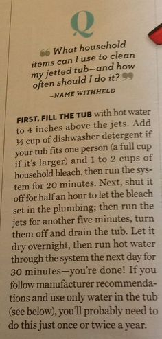 Clean Jetted Tub, Using This Guide, Once or Twice per Year