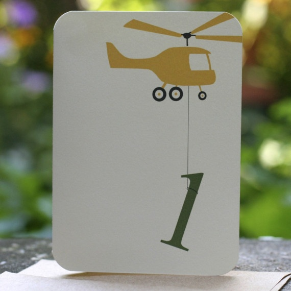 Helicopter Birthday Invitations set of 10 by chickprint on Etsy, $20.00