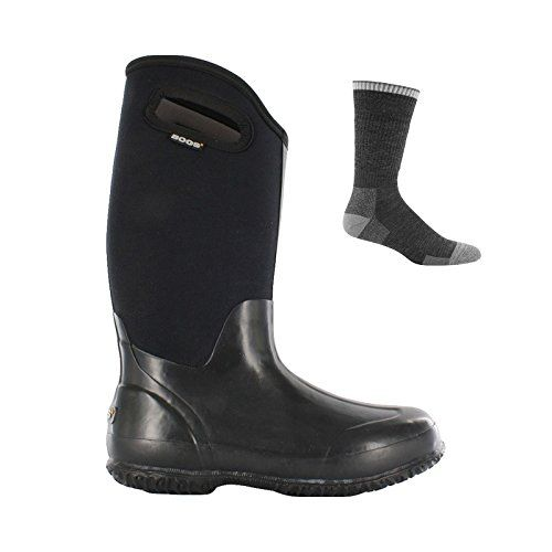 Bogs Women's Classic High With Handles Insulated Boot Black Smooth w/ Sock - 7