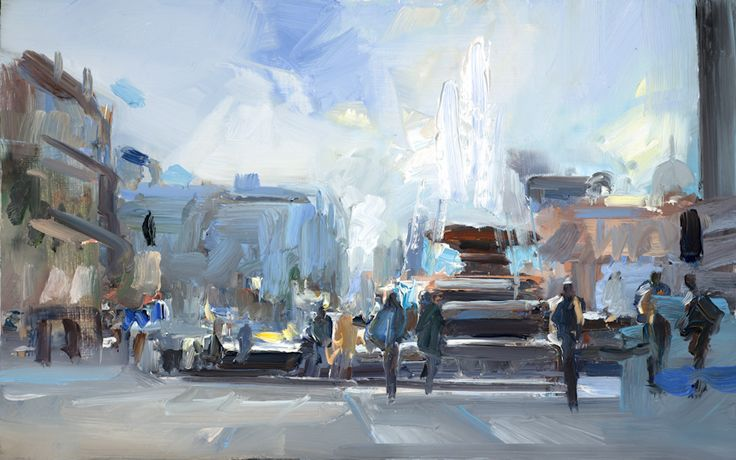David Atkins The Fountain in Trafalgar Square Oil on Panel 30 x 46 cm  #Art #Paintings #Lnmadscape #London