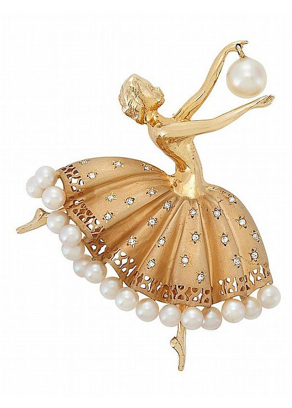 Cultured Pearl Diamond Gold Ballerina Brooch