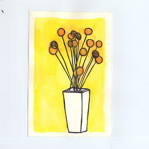 Illustration : H's GoldenPoms  watercolor illustration by amy huber.