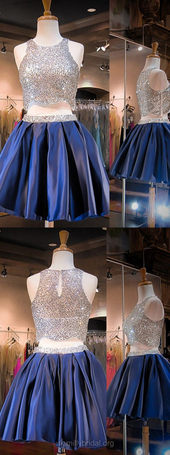 Blue Prom Dresses Two Piece, Short Prom Dresses For Teens 2018, A-line Cocktail Party Dresses Scoop Neck, Satin Homecoming Dresses Beading