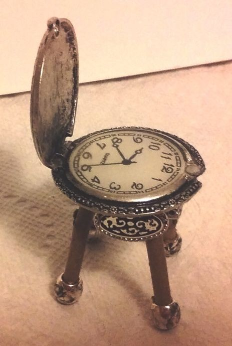 DIY Fairy dollhouse miniature : faux  pocket watch, thin tree limbs and silver beads make a cute study chair by Stanna - fairy furniture