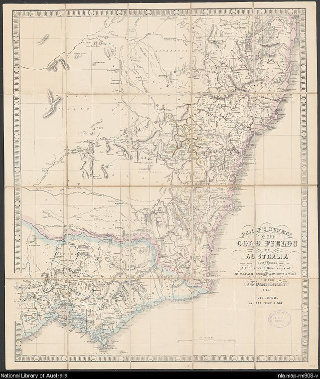 Philip's New map of the gold fields of Australia comprising all the recent discoveries of Rev. W.B. Clarke, Mr Hargraves, Mr Hunter & others in the auriferous districts, George Philip & Son, 1853. National Library of Australia, MAP RM 908