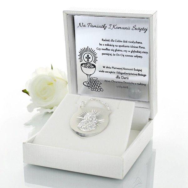 Srebrny ryngraf na I Komunię Św. w ozdobnym pudełeczku z opcją graweru. http://bit.ly/1URNfo9