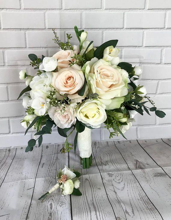Buquê de casamento de blush, buquê de noiva, flores de casamento de blush, buquê de boho, flores de noiva, buquê de eucalipto, acessórios do casamento, buquê de seda   – Blumen Rosen