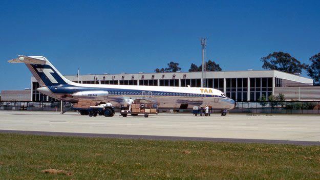 "Trans Australia Airlines (TAA) Douglas DC-9-31 VH-TJK ""Douglas Mawson"" on the ramp at Launceston Airport, December 1970."