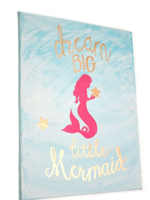 Dream Big Little Mermaid Girl Nursery Art by LilysNurseryShop