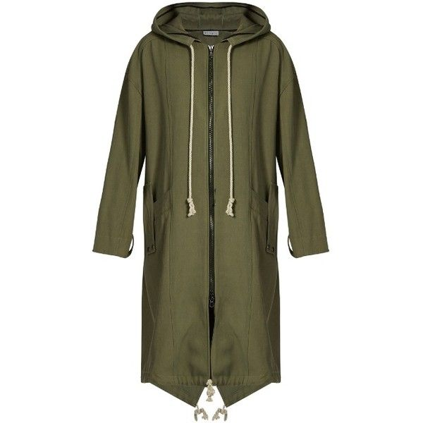 Raey Panelled twill parka ($723) ❤ liked on Polyvore featuring outerwear, coats, khaki, twill coat, green coat, green parka coat, khaki parkas and green parkas
