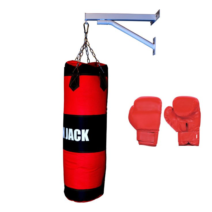 Iron Jack Canvas Heavy Punching Bag White Frame with Boxing Gloves