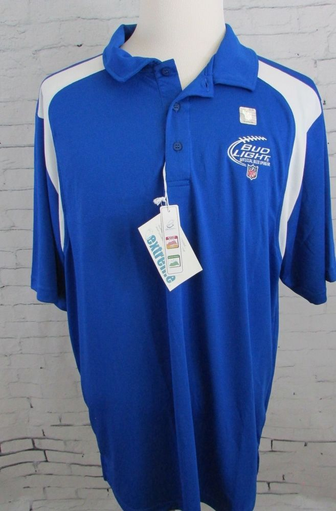 6dc0105e Bud Light Beer NFL Football Shield Logo Golf Polo Shirt New Size 2XL ...