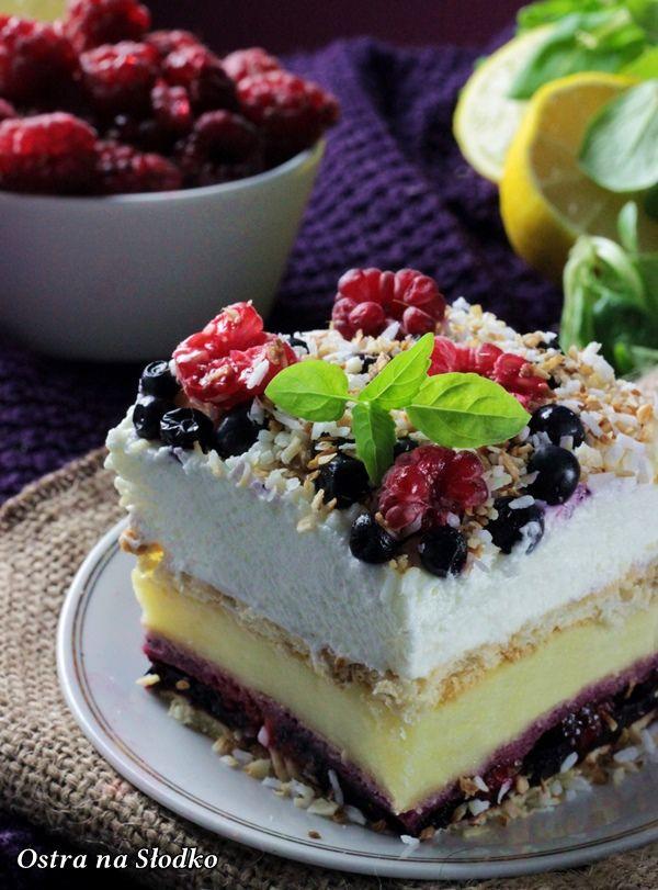 malinowe trio , ciasto z borowkami , ciasto budyniowe , budyniowe bez pieczenia , ciasto z malinami , jagodowe ciasto bez pieczenia , sylwia ladyga , ostra na slodko (5)x