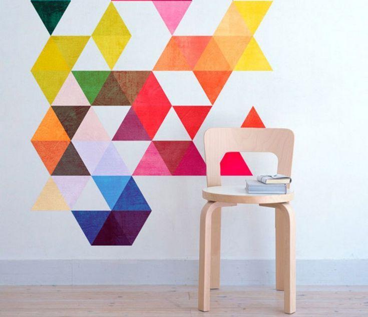 Wand Streichen Muster Ideen Dreiecke Bunte Farben Wande Streichen Wand Streichen Muster Wand Streichen Ideen Muster