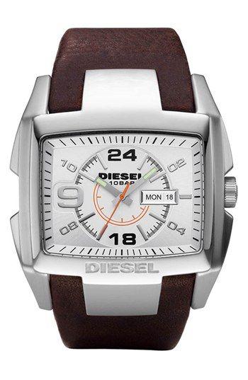 Men's DIESEL 'Bugout' Leather Strap Watch