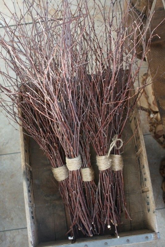 Maybe Spray Painted sticks?  Held together with burlap/twine and set in mason jars on wooden discs!