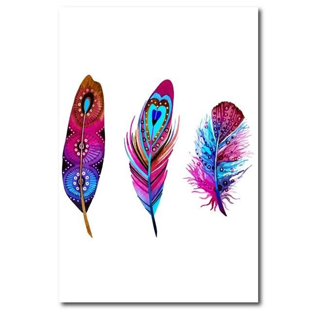 Colorful Feather Watercolor Canvas