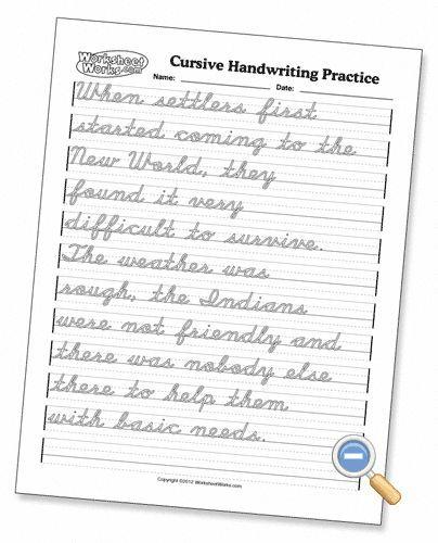 Cursive Handwriting Practice - WorksheetWorks.com ...