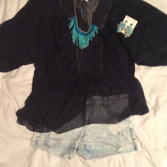 SALE Sheer blue black dressy top Sheer deep blue sorta blackish dressy top with detailing in the front and a tie around waist line to fit perfect! Tops