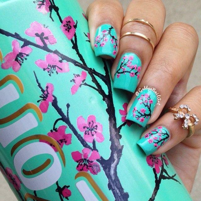 Tiffany Blue Cherry Blossom Nails Inspired by Arizona Tea