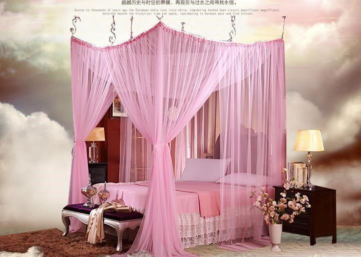 4 8 четыре угловые романтические кружева навес москитная сетка кровать moustiquaire кровать шторы красный розовый puple дворец разгадку москитная сетка купить на AliExpress