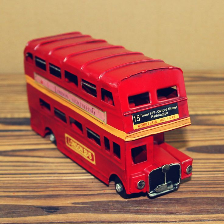 "17.5cm(6.8"")Vintage Double Decker Retro UK England London Bus Figurine Routemaster Model Tour Bus Statue Home Decor Ornament"