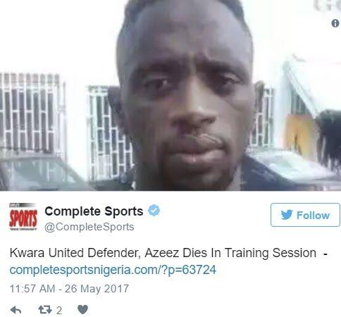 BREAKING NEWS: Kwara United FC Defender Slumps and Dies During Football Training (Photos)