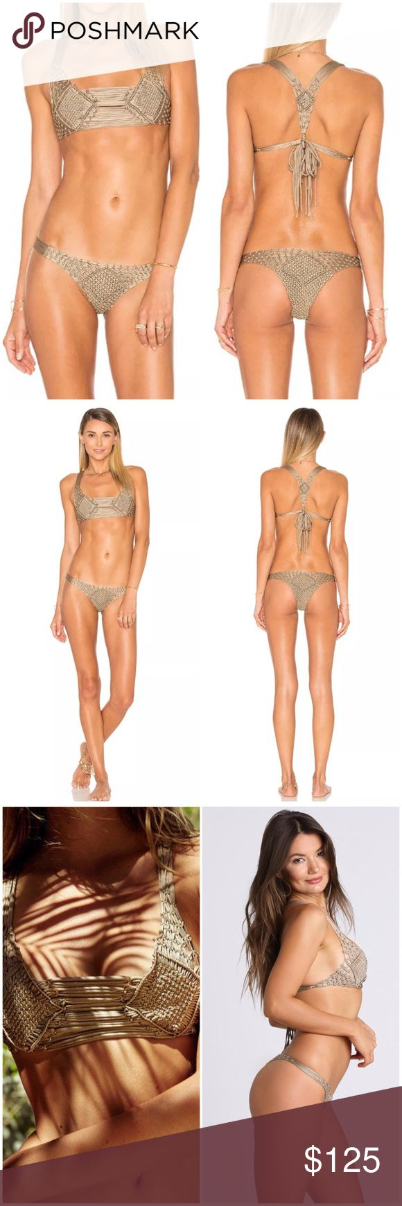 INDAH CROCHET SKIMPY BIKINI SET ACACIA FRANKIES Gorgeous shimmery beige-gold bikini set from INDAH, with long tie accents and lux braided details. Color is true to photos and very flattering. New with tags. Size small is best for US 4. Open to offers close to list price! Indah Swim Bikinis