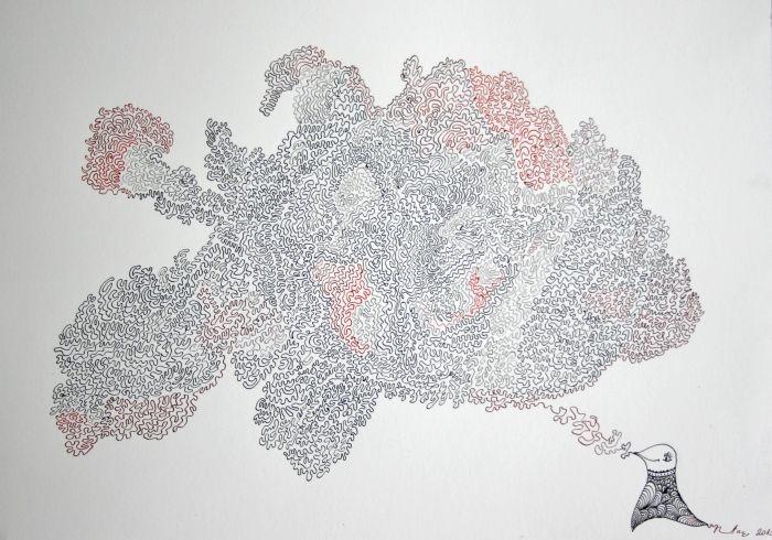 Mapa duše / Map of soul (ink on paper) by Renata Cekovic
