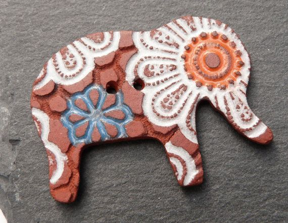 Ceramic Button Elephant Shape White Orange Brown by craftysewnsews