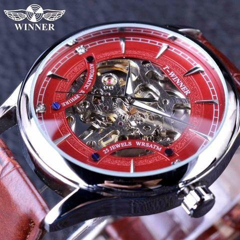 Winner Red Skeleton Sport Design Watch