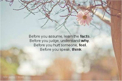 Before you assume, learn the facts. Before you judge, understand why. Before you hurt someone, feel. Before you speak, think.Words Of Wisdom, Remember This, Facts, Hurts Someone, Life Lessons, Self Quotes, Inspiration Quotes, Wise Words, Pictures Quotes