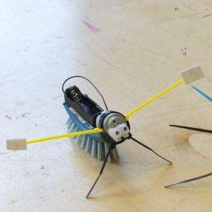 Borstel-robotjes zijn zelfgemaakte beestjes die erg grappig over de vloer scharrelen. Je kunt ze maken van een afwasborstel en een electromotortje. Vergt wat voorbereiding, maar erg leuk!