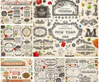 Decorative ornamental Christmas design elements 2013 vector