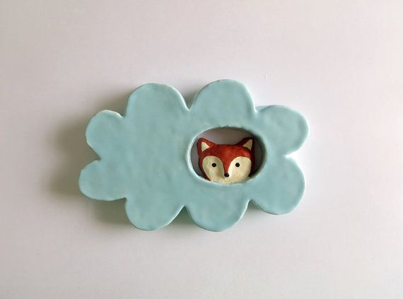 Fox in a Cloud Ceramic Wall Hanging by PearsonMaron on Etsy