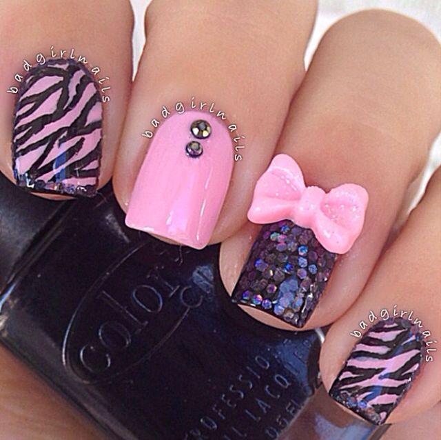pink and black zebra nails nails pinterest pink
