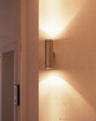 BEL LIGHTING - ABIAC - Applique murale aluminium/laiton lumière ascendante/descendante étanche IP65 GU 5,3 classe 3 - 182 à 277€ diam 65, ht 220 x115