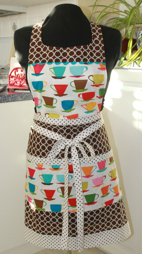 Coffee Tea and Polka Dot Full Apron by sewmuch2luv on Etsy, $35.00