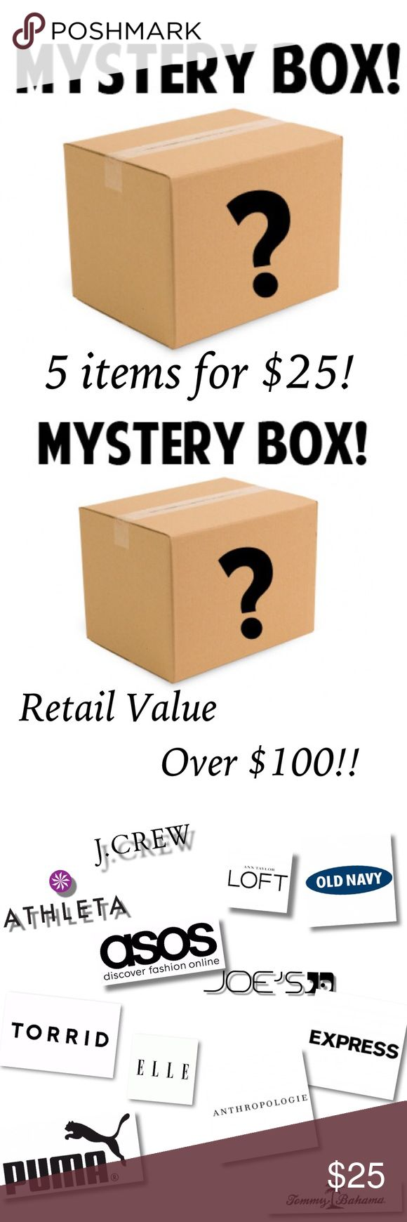 Mystery Box Bundle! Retail value over $100! All items are EUC, NWT or Boutique. Some may contain jewelry and/ or accessories. I have 4 sizes listed. You can pick S/M , M/L, L/XL or XL/1X  All boxes will contain a mix of pants, skirts, shorts, leggings, tops, jewelry, swimwear or accessories. Many are listed and many are not. Look through my closet to check out my style!   Please Note: All sales are final. If you don't like something you can always reposh it! Each item costs $6.20 with…