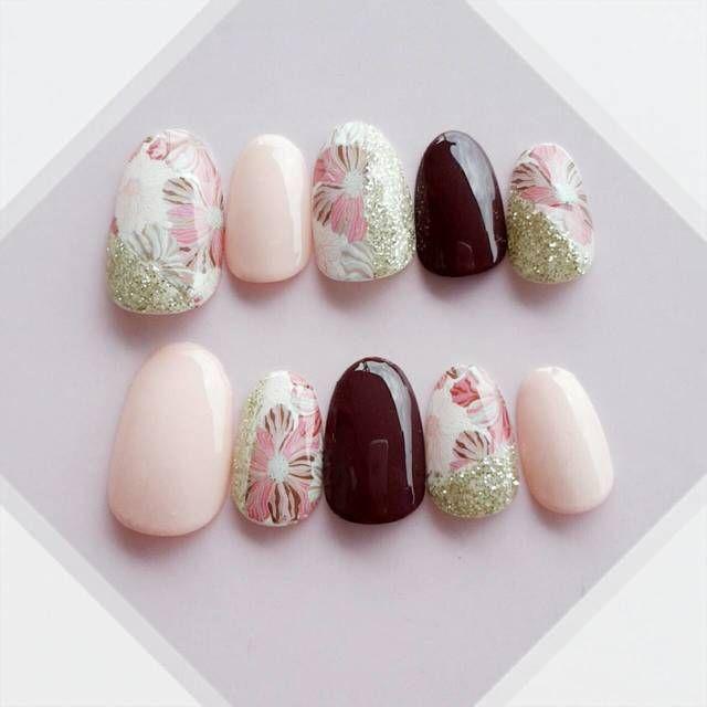 和柄ネイルチップ和花 桜×茶 by yunoshii ファッション その他