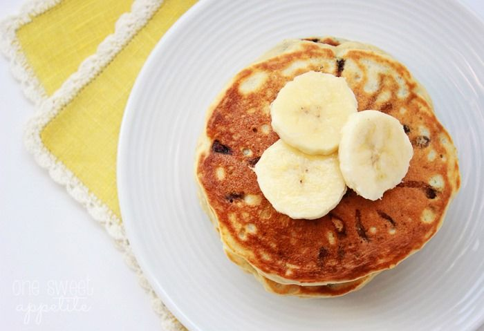 Chunky Monkey Pancakes are not for the faint of heart. Filled with bananas, pecans, and mini chocolate chips... these are sure to be a family favorite!